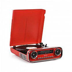 Auna Challenger, LP gramofón, bluetooth, VHF-rádio, USB, červený