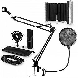 Auna CM001B mikrofónová sada V5 kondenzátorový mikrofón, mikrofónové rameno, pop filter, panel, čierna farba