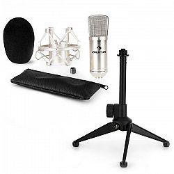 Auna CM001S mikrofónová sada V1 - strieborný štúdiový mikrofón s pavúkom a stolným stojanom