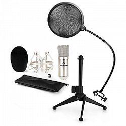 Auna CM001S mikrofónová sada V2 - kondenzátorový mikrofón, mikrofónový stojan, pop filter, strieborná farba