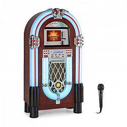 """Auna Graceland Touch, jukebox, 12"""" dotykový ovládací panel, WLAN, CD, BT, mikrofón, drevený vzhľad"""