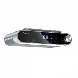 Auna KR-130, kuchynské rádio, bluetooth, hands-free, FM, LED svetlá, strieborné