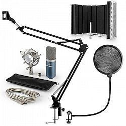 Auna MIC-900BL USB mikrofónová sada V5 kondenzátorový mikrofón, pop filter, mikrofónový absorbčný panel, mikrofónové rameno modrá farba
