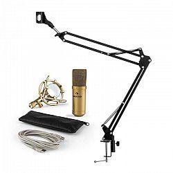 Auna MIC-900G V3, mikrofónová sada, USB kondenzátorový mikrofón, rameno, kardioidná ch., zlatá farba