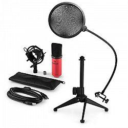 Auna MIC-900RD-LED V2, trojdielna USB mikrofónová sada, kondenzátorový mikrofón + pop-filter + stolný statív