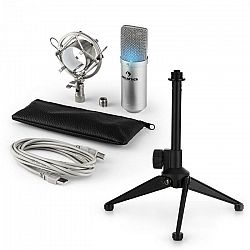 Auna MIC-900S-LED V1, USB mikrofónová sada, strieborný kondenzátorový mikrofón + stolný statív