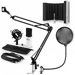 Auna MIC-900WH USB mikrofónová sada V5 kondenzátorový mikrofón, pop filter, mikrofónový absorbčný panel, mikrofónové rameno biela farba