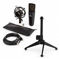 Auna MIC-920B USB mikrofónová sada V1 - čierny veľkomembránový mikrofón a stolný stojan