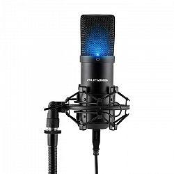Auna Pro MIC-900B-LED, čierny, štúdiový USB kondenzátorový mikrofón, obličková ch., LED