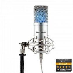 Auna Pro MIC-900S-LED, strieborný, štúdiový USB kondenzátorový mikrofón, obličková ch., LED