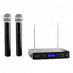 Auna Pro VHF-400 Duo 1, 2-kanálová sada VHF bezdrôtových mikrofónov, 1 x prijímač, 2 x ručný mikrofón