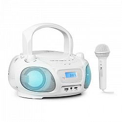 Auna Roadie Sing, CD boombox, FM rádio, svetelná šou, CD prehrávač, mikrofón, biely