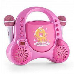 Auna Rockpocket, detský karaoké systém, CD, AUX, 2 x mikrofón, sada nálepiek, ružový