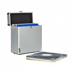 Auna Vinylbox Alu, kufrík na vinylové platne, do 30 platní, sklopný kryt, strieborný