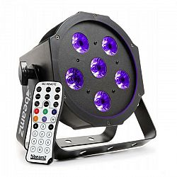Beamz BFP130 FlatPAR, 6 x 6 W UV LED diódy, DMX, IR diaľkový ovládač