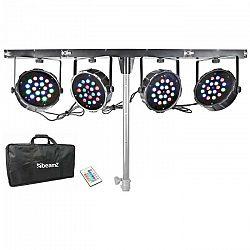 Beamz PARBAR 4-pásmová sada, 18 x 1 W, RGB LED diódy, DMX, T-nosník, prenosná taška