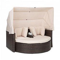 Blumfeldt Heartland, dvojmiestna pohovka so stolíkom, stolček, strieška proti slnku, ecru