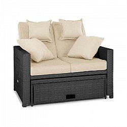 Blumfeldt Komfortzone, ratanová záhradná sedačka, dvojsedačka, polyratan, sklopná, sivá