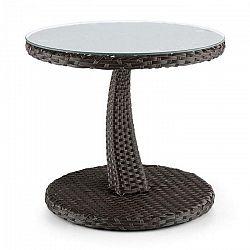 Blumfeldt Tabula, odkladací stolík, 50 cm, sklo, polyratan, hliník, dvojfarebný hnedý