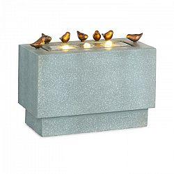 Blumfeldt Waterbirds, záhradná fontána, LED, 60 x 47 x 30 cm, cement, hliník, sivá
