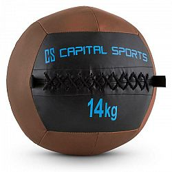 Capital Sports Wallba 14, 14kg, hnedá, Wall Ball (medicinbal) z umelej kože