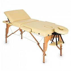 KLARFIT MT 500, béžový, masážny stôl, 210 cm, 200 kg, sklápací, jemný povrch, taška