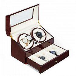 Klarstein Geneva, naťahovač na hodinky, 4 hodiniek, 4 režimy, zásuvka, palisandrový vzhľad
