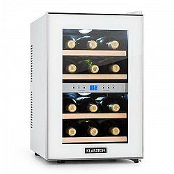 Klarstein Reserva, chladiaca vinotéka, 34 l, 12 fliaš, 2 chladiace zóny, 11-18°C , biela