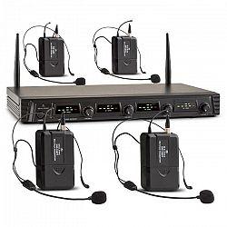 Malone Duett Quartett Fix V3, 4-kanálový UHF bezdrôtový mikrofónový set, dosah 50 m