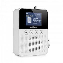 OneConcept Plug+Play DAB, rádio do zásuvky, DAB+/FM, BT, TFT displej, biele