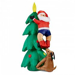 OneConcept Santa on tree, nafukovací Santa Claus, 150 cm, kompresor, osvetlený 6 LED diódami