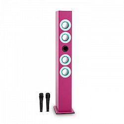 OneConcept Tallgirl, ružový, karaoke reproduktor, bluetooth, USB, SD, MP3, FM, AUX, 2 mikrofóny