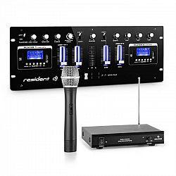 Resident DJ DJ405USB-BK, 4-kanálový DJ mixážny pult, vrátane 1-kanálovej VHF bezdrôtovej mikrofónovej sady