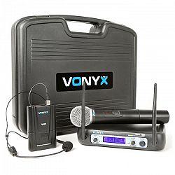 Vonyx WM512C, 2-kanálový VHF vysielací systém, vysielač na opasok, displej