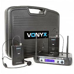 Vonyx WM512H, 2-kanálový VHF vysielací systém, vysielač na opasok, displej